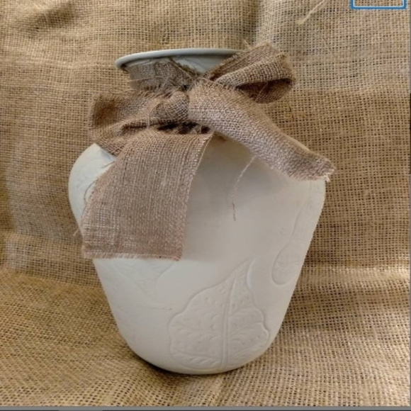 Distressed large Metal Vase with Burlap Bow